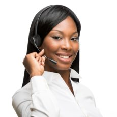 A beautiful afro-american customer service woman. Isolated on a white background.